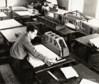 1937: Student studying in architecture classroom