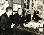 Eddie Rickenbacker with Joe Foss and an unidentified man