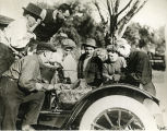 Eddie Rickenbacker with a group of race car drivers