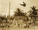 Military swim meet: diver in the air, Hawaii, 1930s 2