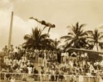 Military swim meet: diver in the air, Hawaii, 1930s 1