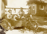 Military motorcycle with sidecar in Hawaii in the 1930s