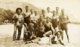 Everett Leavins and a group of buddies on a beach in Hawaii in the 1930s