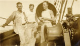 Everett Leavins and two buddies aboard a ship in Hawaii in the 1930s
