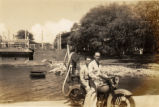 Everett Leavins and Army buddy on motorcycle in Hawaii in the 1930s