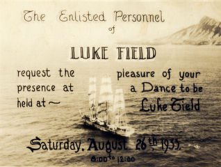 Luke Field Army Air Base dance invitation, 1933