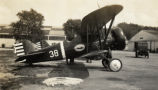 Boeing P-12D Wasp military biplane on the ground in Hawaii
