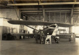 Curtiss A-3 military biplane in hangar in Hawaii