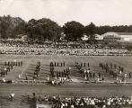 1948: Auburn marching band performing at football game in Clifford Hare Stadium