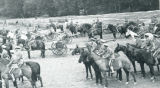 1934: ROTC cadets training with horses