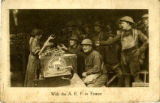 Postcard of Soldiers Receiving Donuts at Salvation Army Hut